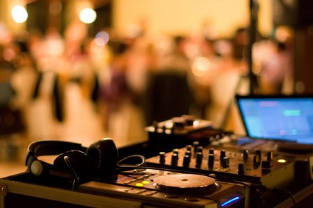 jockey: dj club dance party background with sound mixer console