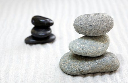 zen composition with stack of grey stone over sand Stock Photo - 3962764