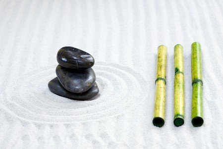 zen composition with stack of grey stone over sand Stock Photo - 3962763