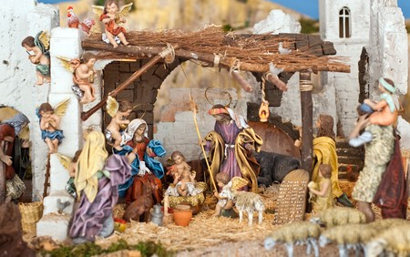 figurines: Nativity scene from figurine crib with focus on Mary and baby Jesus. Stock Photo