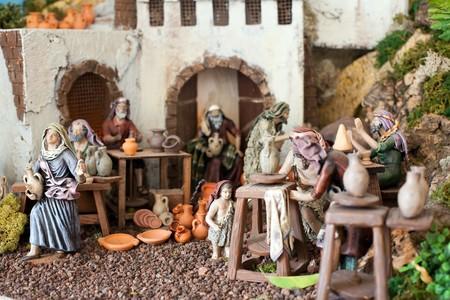 animal figurines: Nativity scene from figurine crib like an old Jerusalem village