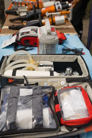 first aid and paramedic tools with resuscitation equipement