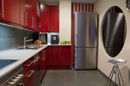 modern kitchen in red and grey colors Stock Photo - 4182451