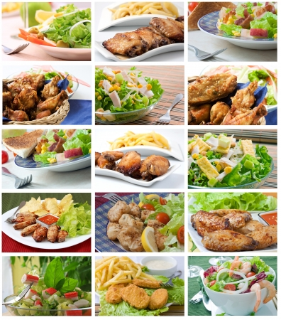 Chicken Nuggets: Plaza de la composici�n con tipos de ensalada assortement Foto de archivo