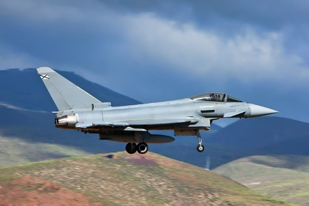Eurofighter Typhoon with landing gear down ready for land Stock Photo