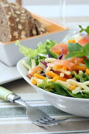 a white bowl with salmon salad and chesee Stock Photo - 4773916