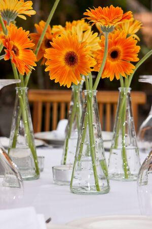 wedding table setting: a lot of flower vase with orange gerbera Stock Photo