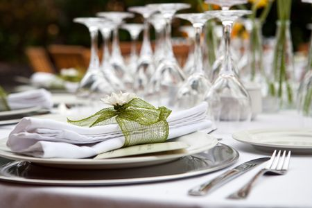 Table setting for a wedding or dinner event with flowers Stock Photo - 5166479