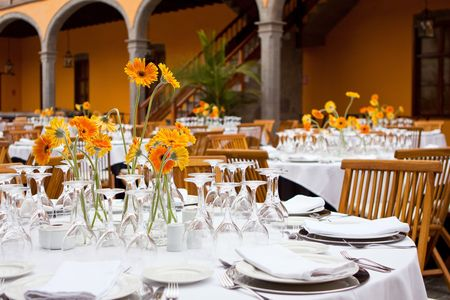 Table setting for a wedding or dinner event with flowers Stock Photo
