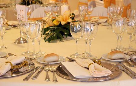 Fancy table set for a wedding celebration photo