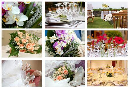 collage of nine wedding parts of ceremony Stock Photo
