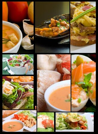 salad and appetizer gourmet collage on black grid Stock Photo - 7824926