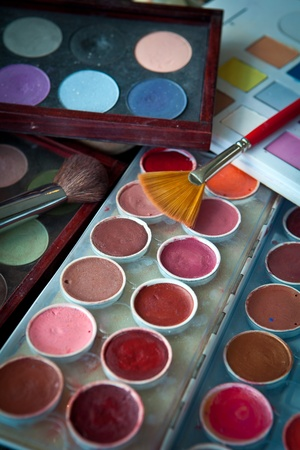 multi colors: make up multi colors and accesories background Stock Photo