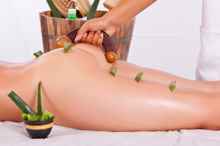 retreat: professional masseuse making a bamboo massage in the back in spa