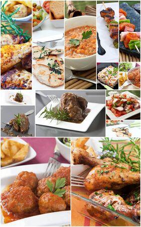 diferentes tipos de carnes en un collage Foto de archivo - 9198203
