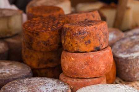 various red cheese type in country market photo