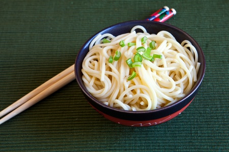 indonesian food: a bowl of chinese noodles with chopstick