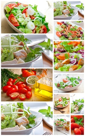 collage with assorted green salad on bowl Stock Photo - 9583940
