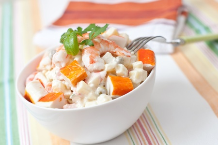 surimi and prawn salad with potato and sauce
