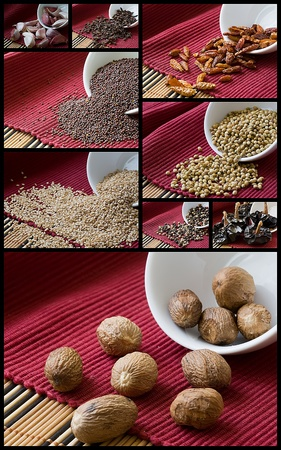 arabian food: collage of assorted spices on red tablecloth
