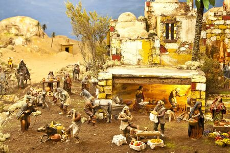 saint joseph: Nativity scene from figurine crib with focus on farmers Editorial