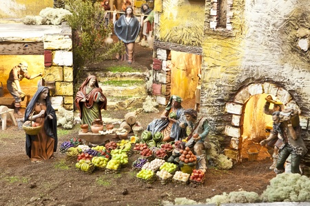 Nativity scene from figurine crib with focus on farmers Stock Photo - 11556488