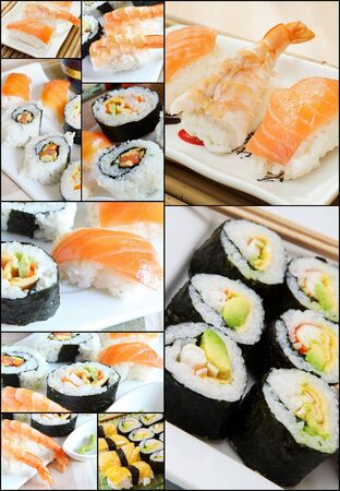 assorted sushi collage on white tray with chopstick photo