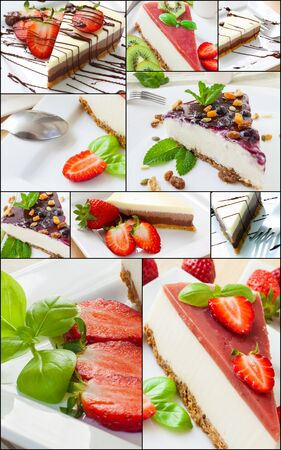 GELATIN: collage of cheesecake with fruits and mint