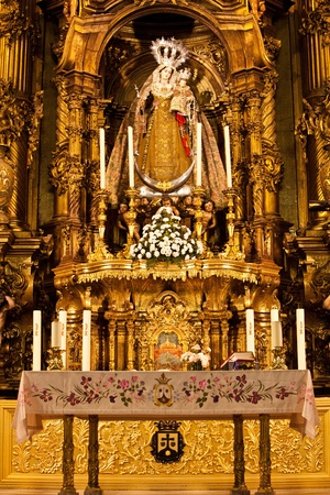virgen maria: Interior de la iglesia con la imagen de Mar�a virgen hermosa Editorial