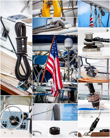 sailboats parts collage with flags  ropes sail rudes photo