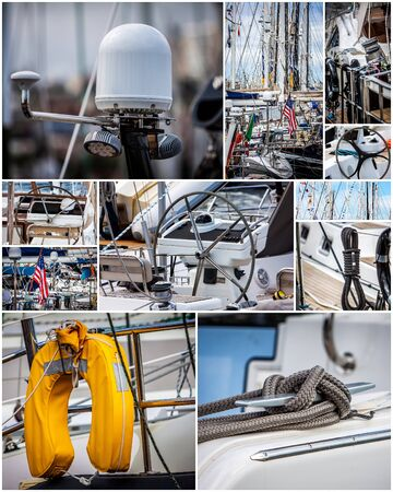 dinghies: sailboats parts collage with flags  ropes sail rudes