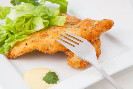 chicken breaded  with lettuce  on white tray with mustard and honey sauce photo
