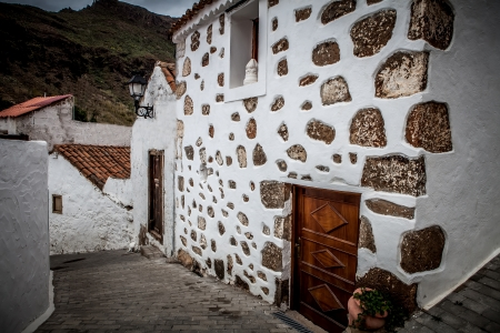 canarian: Old house and street in gran canaria island village