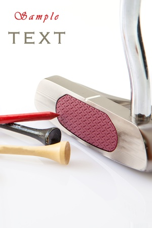 golf stick: Golf putt and colored sticks on  white background Stock Photo