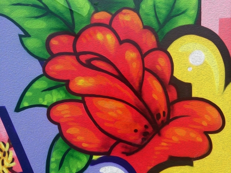 realism: oil painting flower with orange and green colors