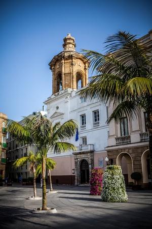 cadiz: Tower of a catholic church in the city of Cadiz in spain. Stock Photo