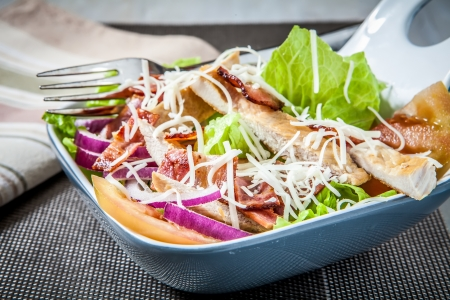 chicken and bacon salad with vegetables photo