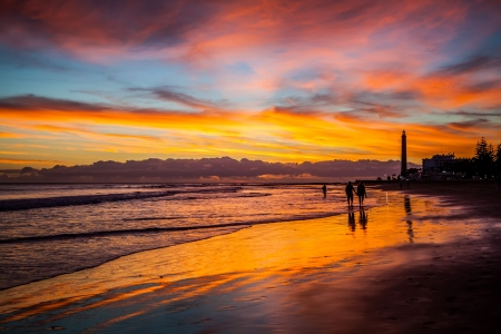 lighthouse at night: lighthouse in maspalomas beach on the gran canaria island