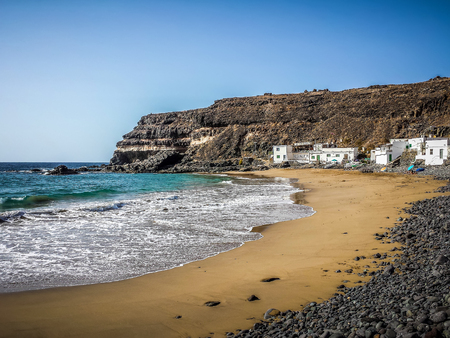 small beach with golden sand on fuerteventura island