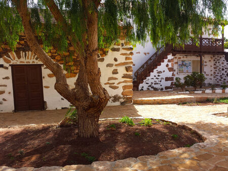 spanish house: traditional house and patio in fuerteventura island Stock Photo