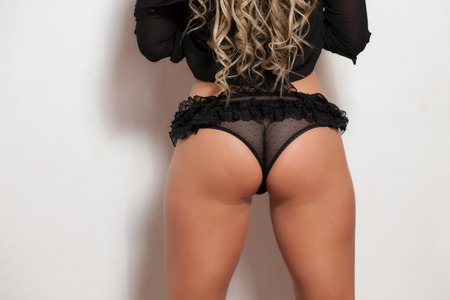 perfect woman ass and back with lingerie photo