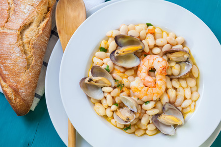 almejas: fabes con almejas is a homemade beans and clams seafood from spain culture