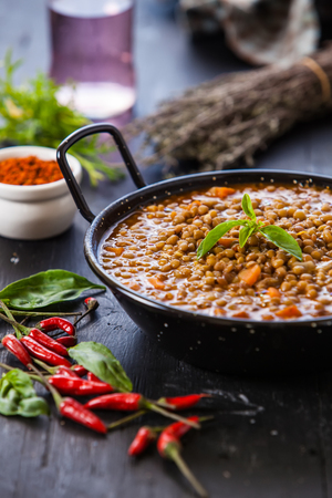 lentil: Indian style lentil soup with red hot chili pepper
