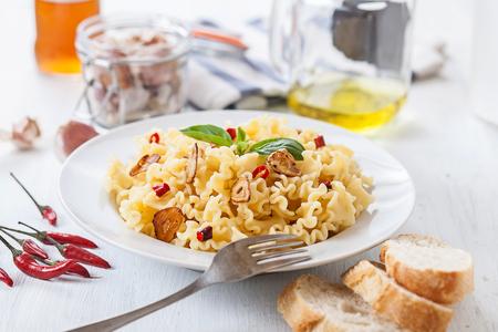 olio: italian pasta with garlic olive oil and chili pepper Stock Photo