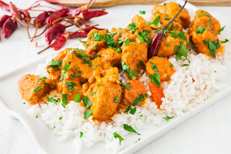 curry chicken: Curried Coconut Chicken with red hot chili pepper and rice
