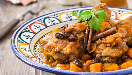 maroc: maroc style chicken with carrot sauce and cinnamon Stock Photo