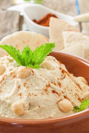 lebanese: Fresh lebanese hummus for dip with pita bread