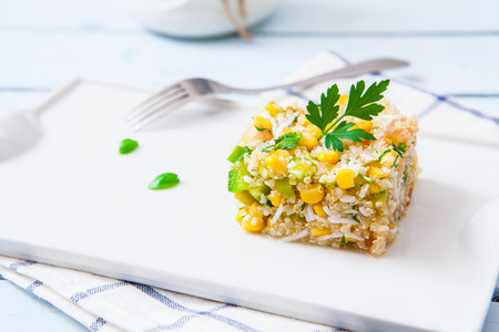 appetizers: Quinoa salad with rice and sweet corn on tray