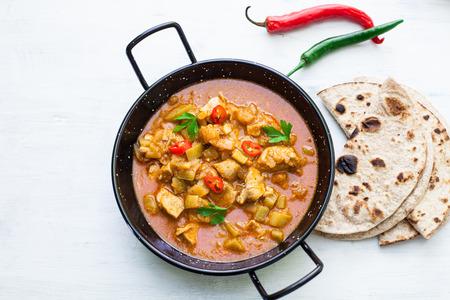 Indian tikka masala chicken and naan flat bread Stock Photo