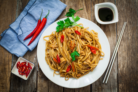 beansprouts: Chicken chow mein a popular oriental dish with noodles and vegetables